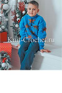 Вязаный джемпер для подростка мальчика