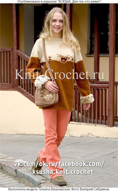 """Женский пуловер рисунком """"кричащий кот"""" размера 44-46, связанный на спицах и сумка крючком."""