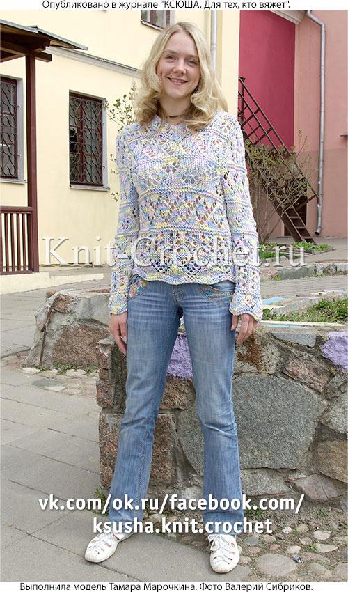 """Женский пуловер """"Коктейль"""" размера 46-48, связанный на спицах."""