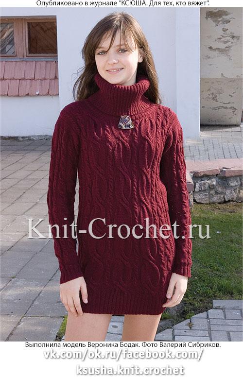 Связанное на спицах платье-свитер 42-44 размера.