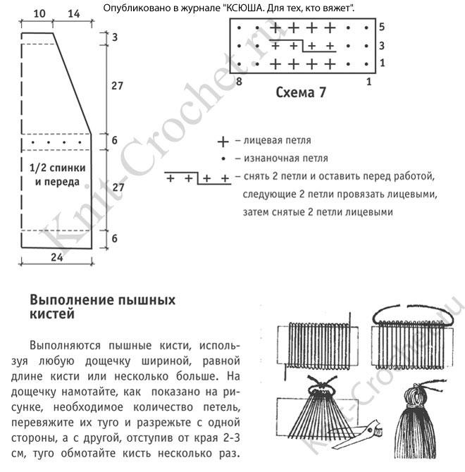 Выкройка, схемы узоров и обозначения для вязания спицами сарафана 46-48 размера.
