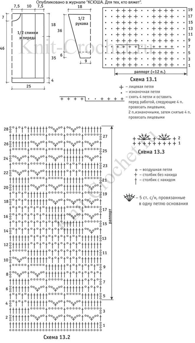Выкройка, схемы узоров и обозначения для вязания спицами женского пуловера спицами с ажурными вставками крючком размера 44-46.