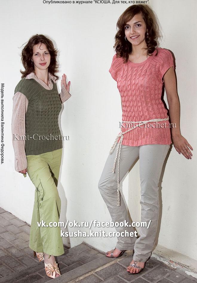 Связанный на спицах женский жилет-топ 46-48 размера.