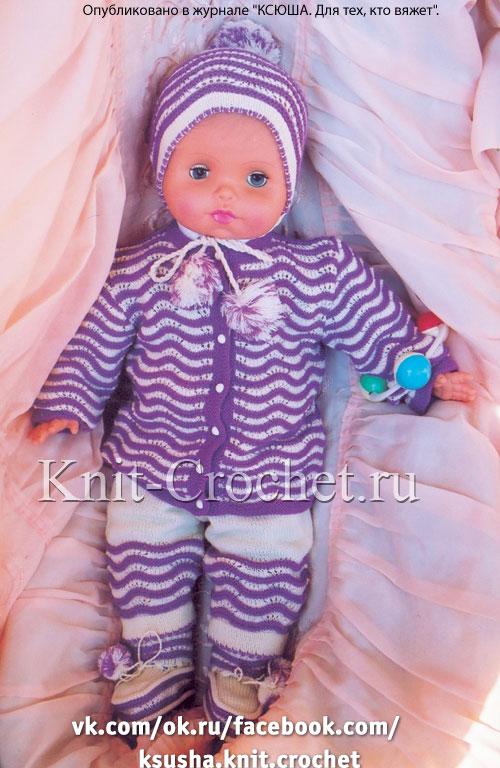 Комплект (кофточка, штанишки, шапочка, пинетки) на спицах для малыша до 1 года.