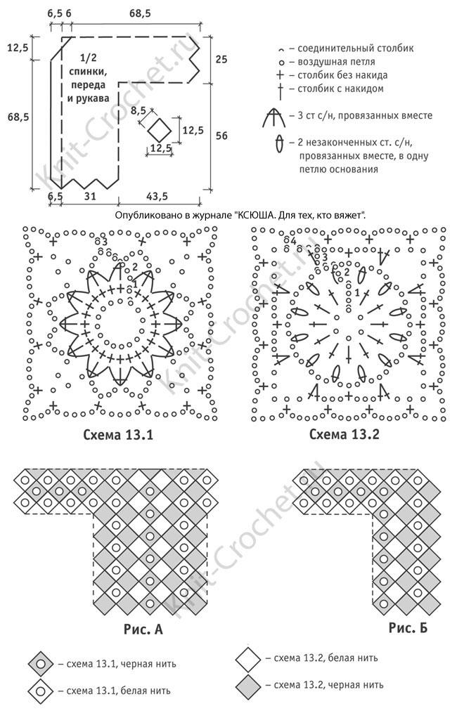 Выкройка, схемы узоров с описанием вязания крючком женского кардигана из двухцветных ромбов размера 52-54