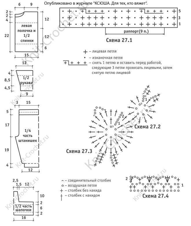 Схемы с описанием детской шапочки связанной крючком