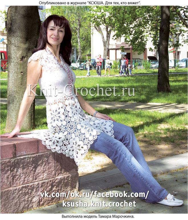 Связанное крючком платье-туника с ажурной кокеткой и юбкой 44-46 размера.