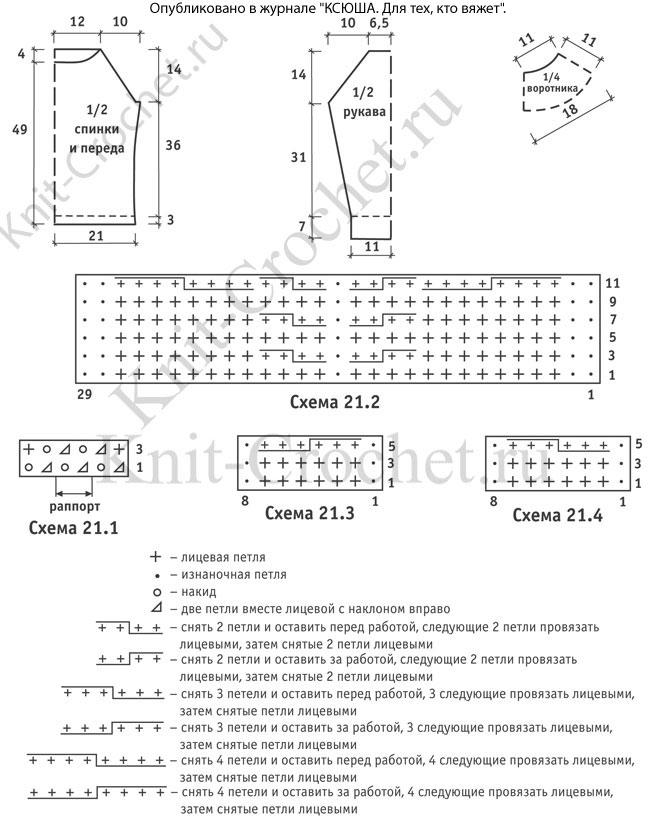 Выкройка, схемы узоров с описанием для вязания спицами женского свитера с рукавом реглан размера 44-46.