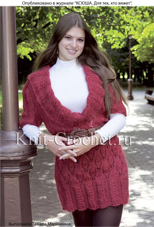 Вязаный на спицах пуловер удлиненный с глубоким вырезом 50-52 размера.