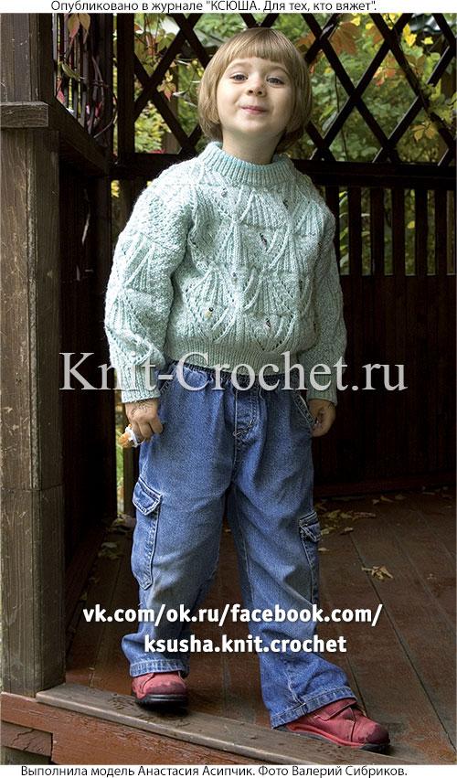 Пуловер для мальчика на рост 86-92 см, вязанный на спицах.