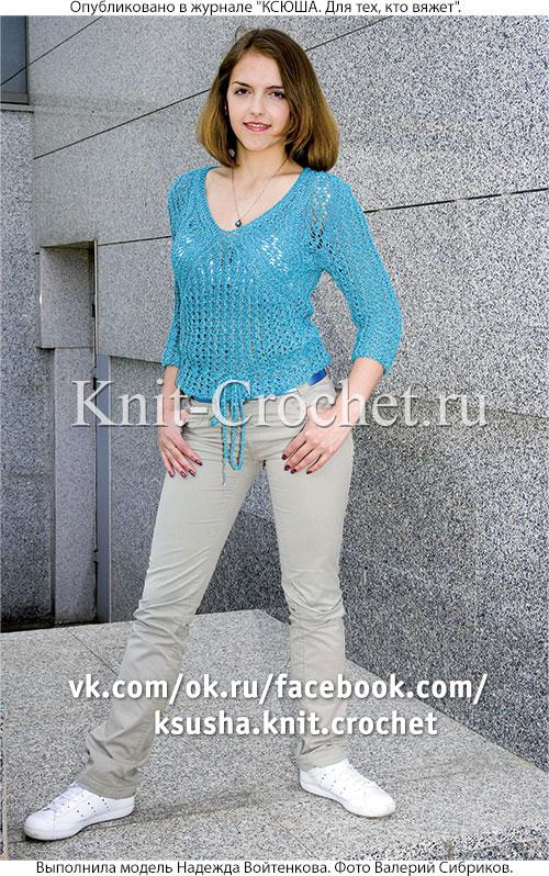 Женский пуловер с узорной кокеткой размера 44-46, связанный на спицах.