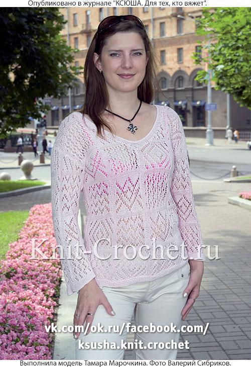 Женский пуловер типа «пэчворк» размера 46-48, связанный на спицах.