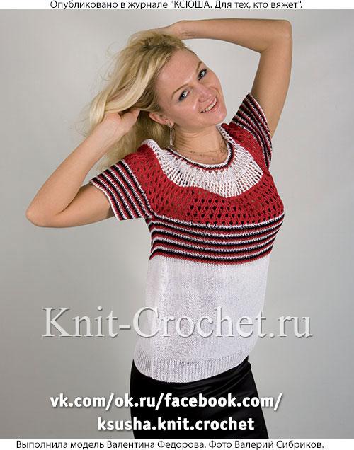 Женский пуловер с круглой кокеткой размера 48-50, связанный на спицах.