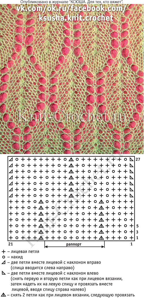 Ажурный узор, связанный спицами из тонкой мохеровой нити со схемой и условными обозначениями.