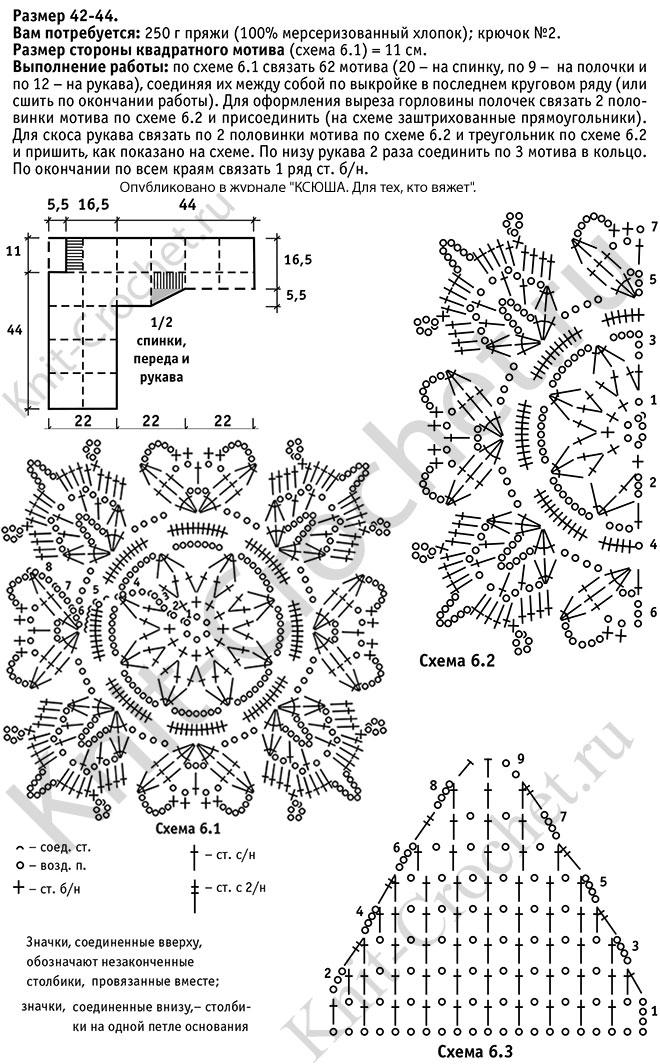 Различные схемы вязания квадрата крючком 9