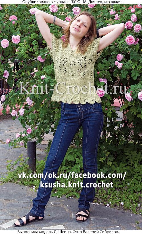 Женский ажурный пуловер размера 44-46, связанный на спицах.