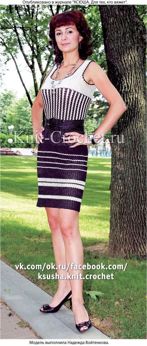 Связанное крючком платье в полоску 42-44 размера.