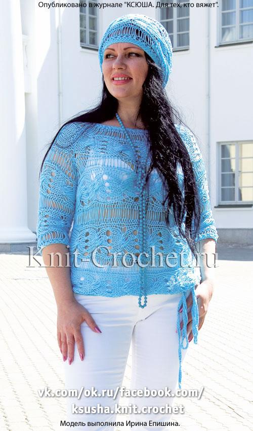 Женский пуловер поперечного вязания размера 46-48, связанный на спицах.