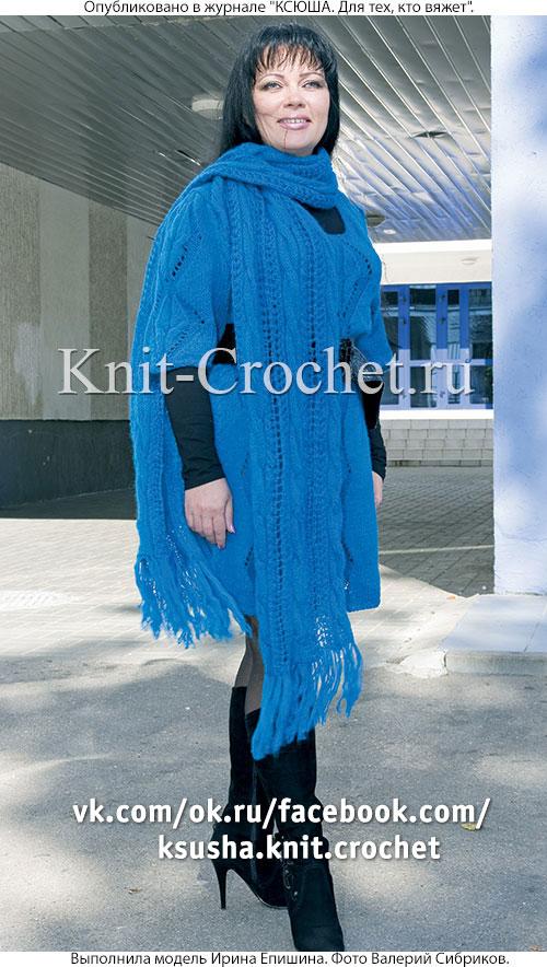 Связанный на спицах женский шарф.