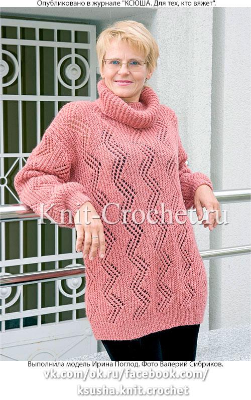 Связанный на спицах женский свитер размера 52-54.