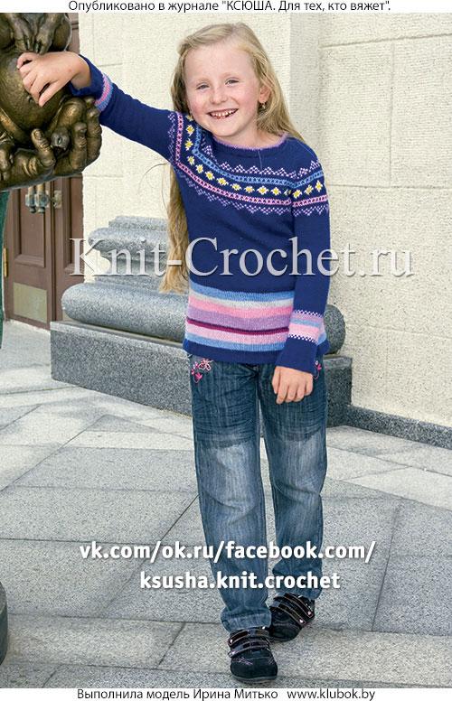 Пуловер реглан для девочки на рост 134-140 см, вязанный на спицах.