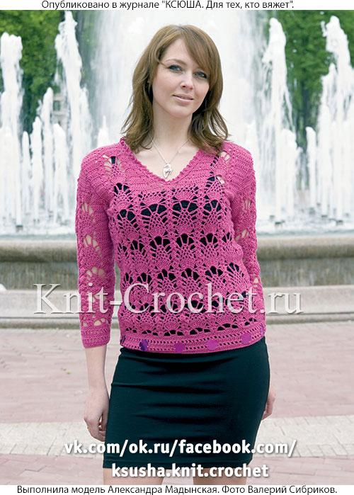 Вязанный крючком женский ажурный пуловер размера 46-48.