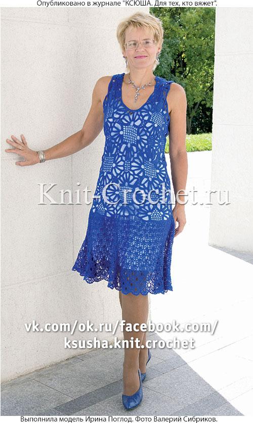 Связанное крючком ажурное платье 46-48 размера.