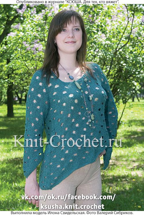 Женский пуловер cо скосами размера 44-46, связанный на спицах.