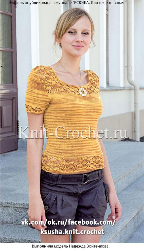 Женский пуловер c короткими рукавами размера 44-46, связанный на спицах и крючком.