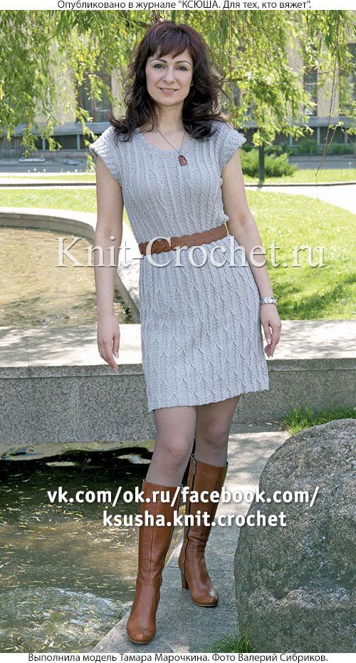 Связанное на спицах женское платье 50-52 размера.
