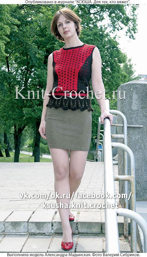 Вязанный крючком женский комбинированный пуловер размера 46-48.