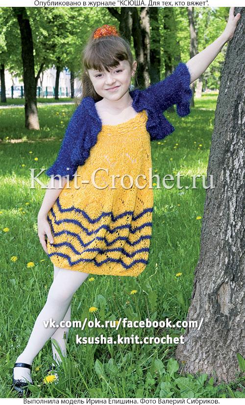 Туника-тюльпан и жакет-болеро для девочки на рост 136 см, вязанные на спицах.