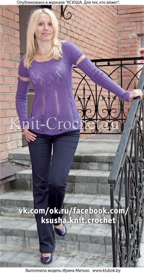 Женский пуловер со съемными рукавами размера 44, связанный на спицах.