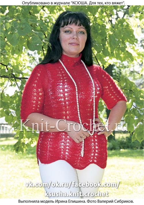 Женский пуловер с короткими рукавами размера 46, связанный на спицах.