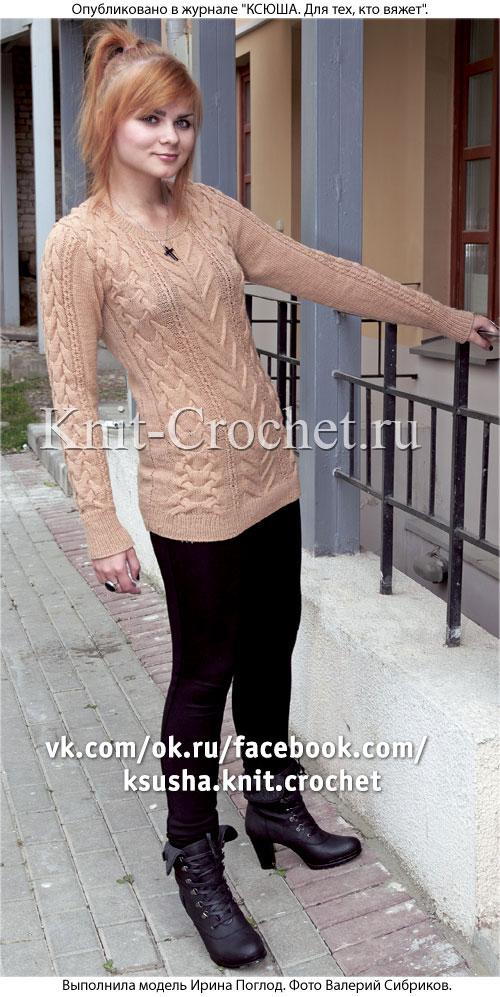 Женский пуловер с рельефными узорами размера 44-46, связанный на спицах.