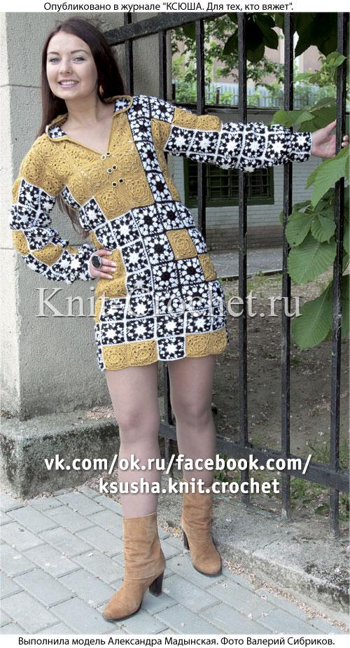 Связанное крючком платье-туника из квадратных мотивов 46-48 размера.