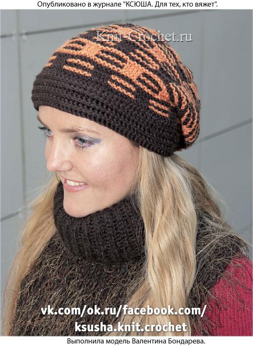 Связанная на спицах шапочка двухцветная размера 55-58.