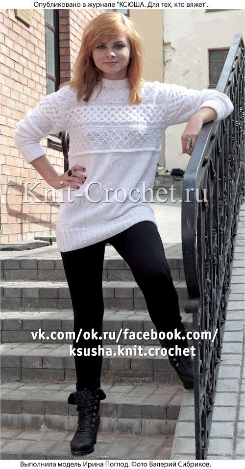 Женский пуловер с поперечной полосой размера 46-48, связанный на спицах.