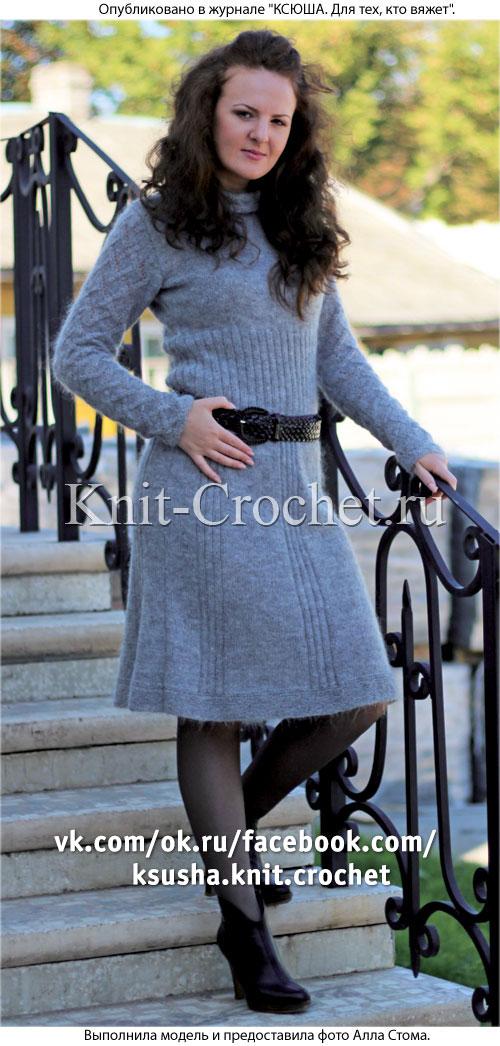 Связанное на спицах платье с отложным воротником 44-46 размера.