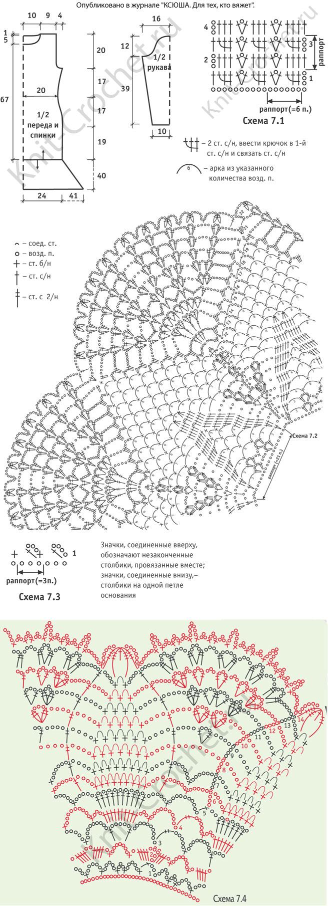 Выкройка, схемы узоров с описанием вязания крючком платья с каймой и круглым воротником размера 46-48.