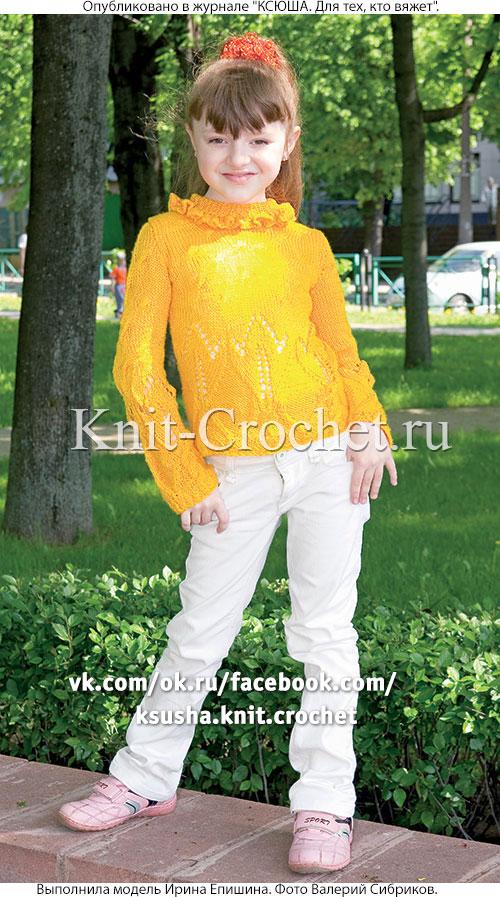 Пуловер с воротником для девочки на рост 140 см, вязанный на спицах.
