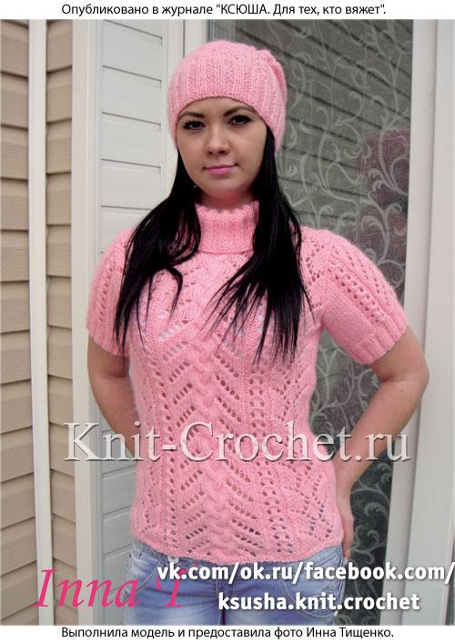 Женский пуловер с коротким рукавом и шапочка размера 42-44, связанный на спицах.