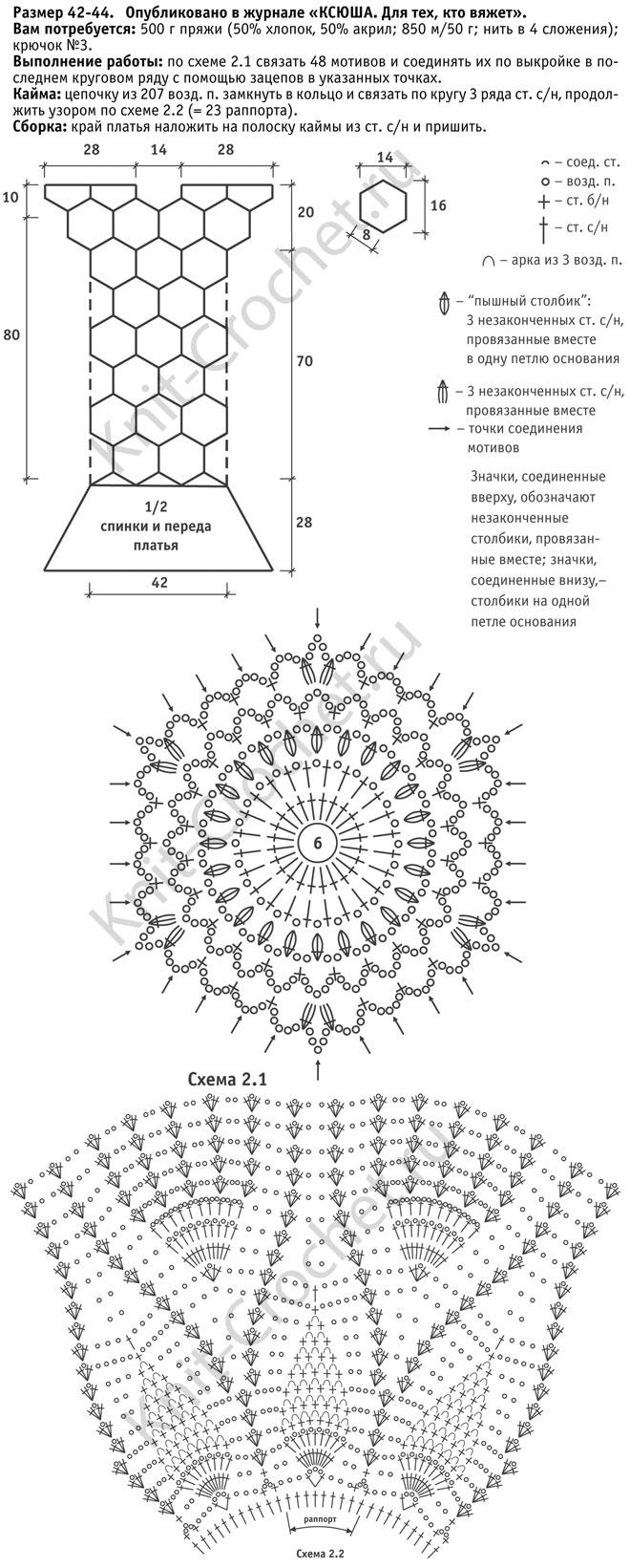 Выкройка, схемы узоров с описанием вязания крючком длинного платья с каймой размера 42-44.