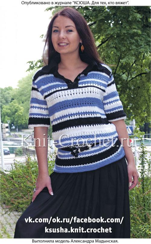 Вязанный крючком женский пуловер с воротником поло размера 44-46.
