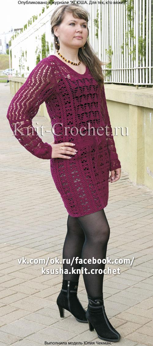 Связанное крючком ажурное платье 44-46 размера.