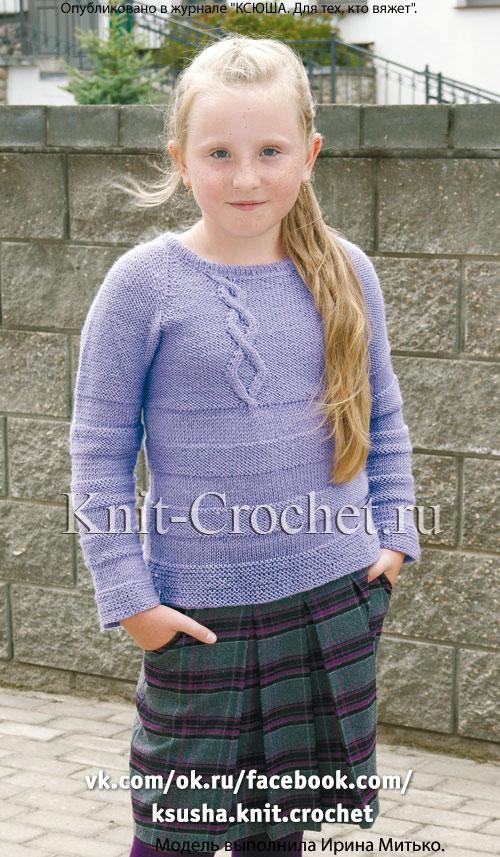 Вязание спицами свитера для девочки регланом