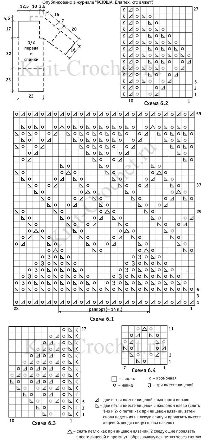 Выкройка, схемы узоров и обозначения для вязания спицами туники «без швов».