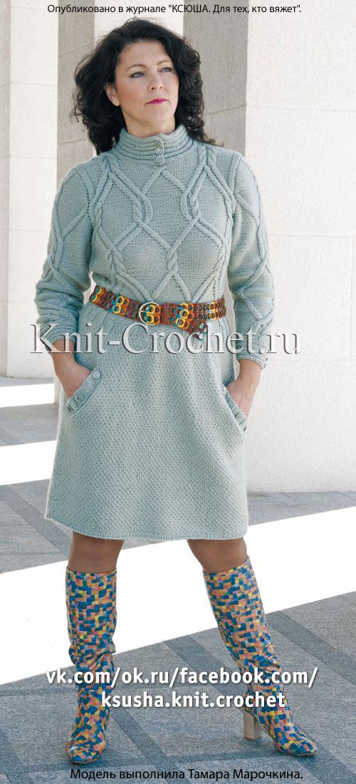 Платье с рукавом 3/4, связанное на спицах.