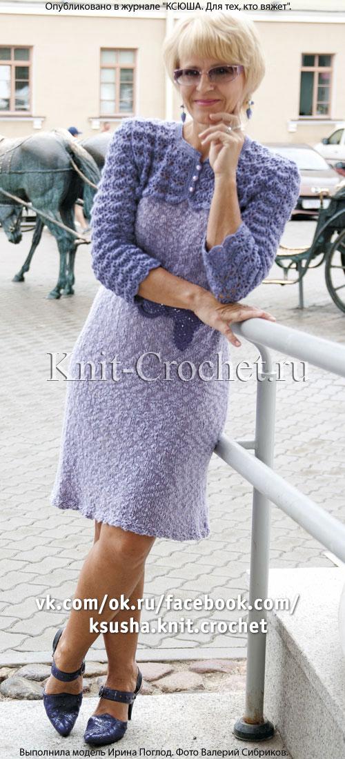 Платье спицами с рукавами и ажурной кокеткой крючком 46-48 размера.