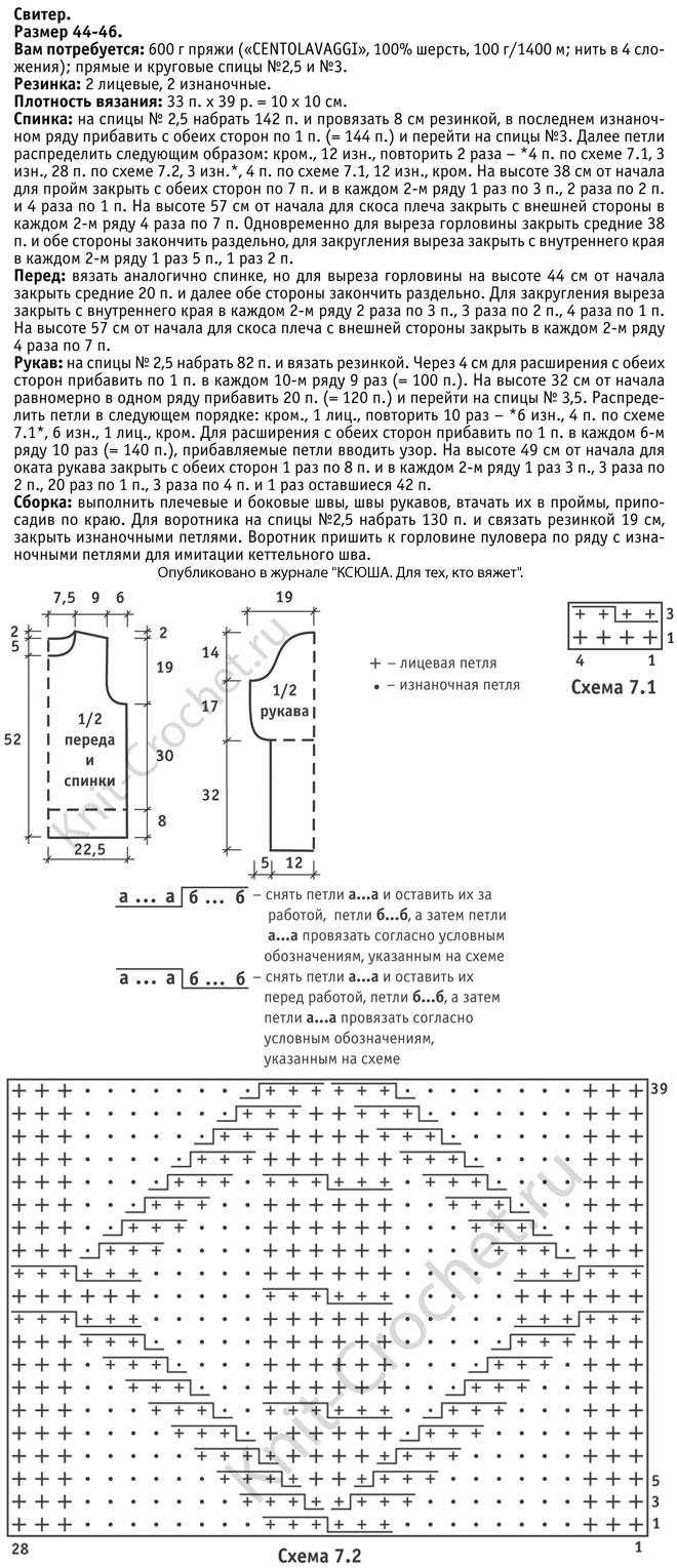 Выкройка, схемы узоров с описанием вязания спицами женского свитера размера 44-46.